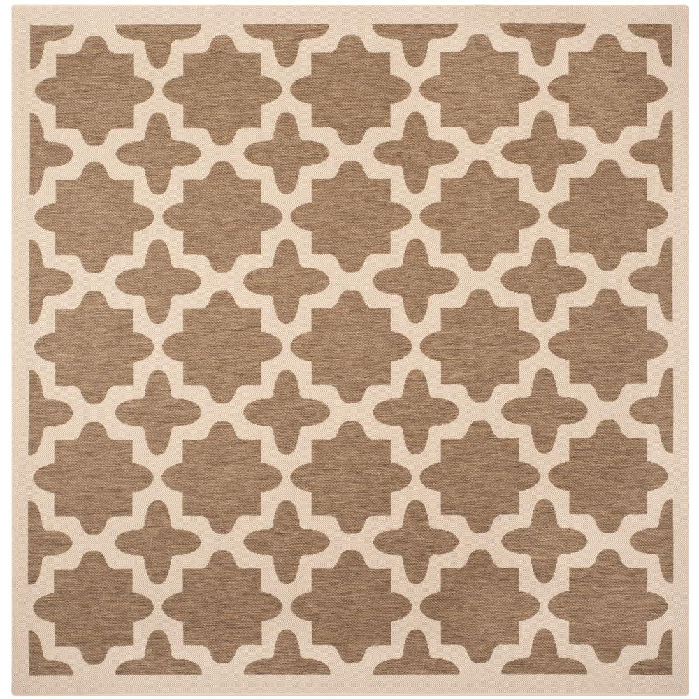 Courtyard Brown/Bone (Brown/Ivory) 7 ft. 10 in. x 7 ft. 10 in. Indoor/Outdoor Square Area Rug