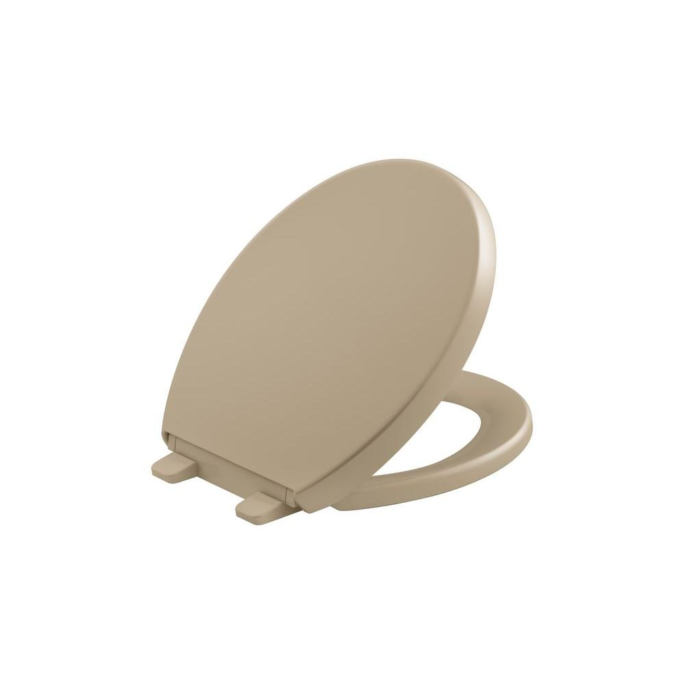 KOHLER Grip Tight Reveal Q3 Round Closed Front Toilet Seat in Mexican Sand