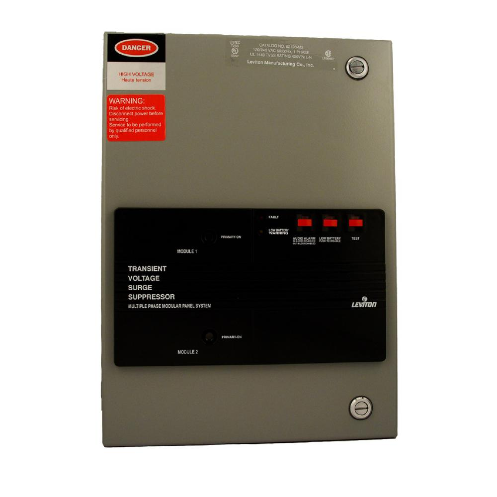 120/240-Volt-Single Phase Surge Panel with Replaceable Surge Modules, Gray