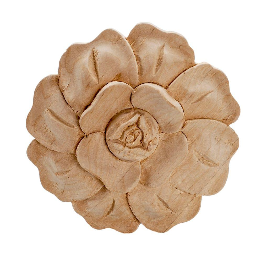 American Pro Decor 4-7/8 in. x 3/4 in. Unfinished Large Hand Carved North American Solid Alder Wood Onlay Rose Wood Applique