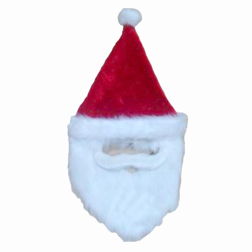 26 in. Plush Holiday Red Santa Hat with Faux Mustache and