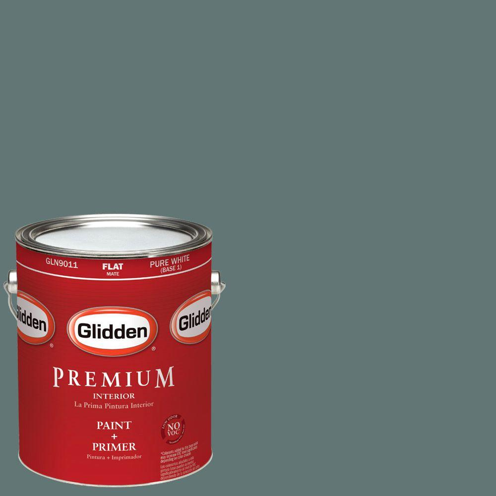 Glidden Premium 1-gal. #HDGCN21D Dark Teal Woods Flat Latex Interior Paint with Primer