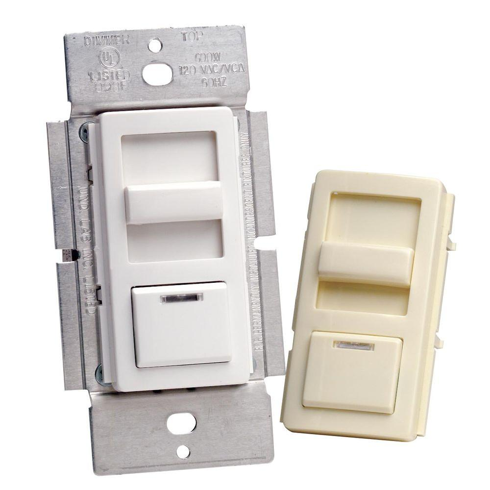 Leviton IllumaTech 600-Watt Preset Electro-Mechanical Incandescent Slide Dimmer - White-DISCONTINUED