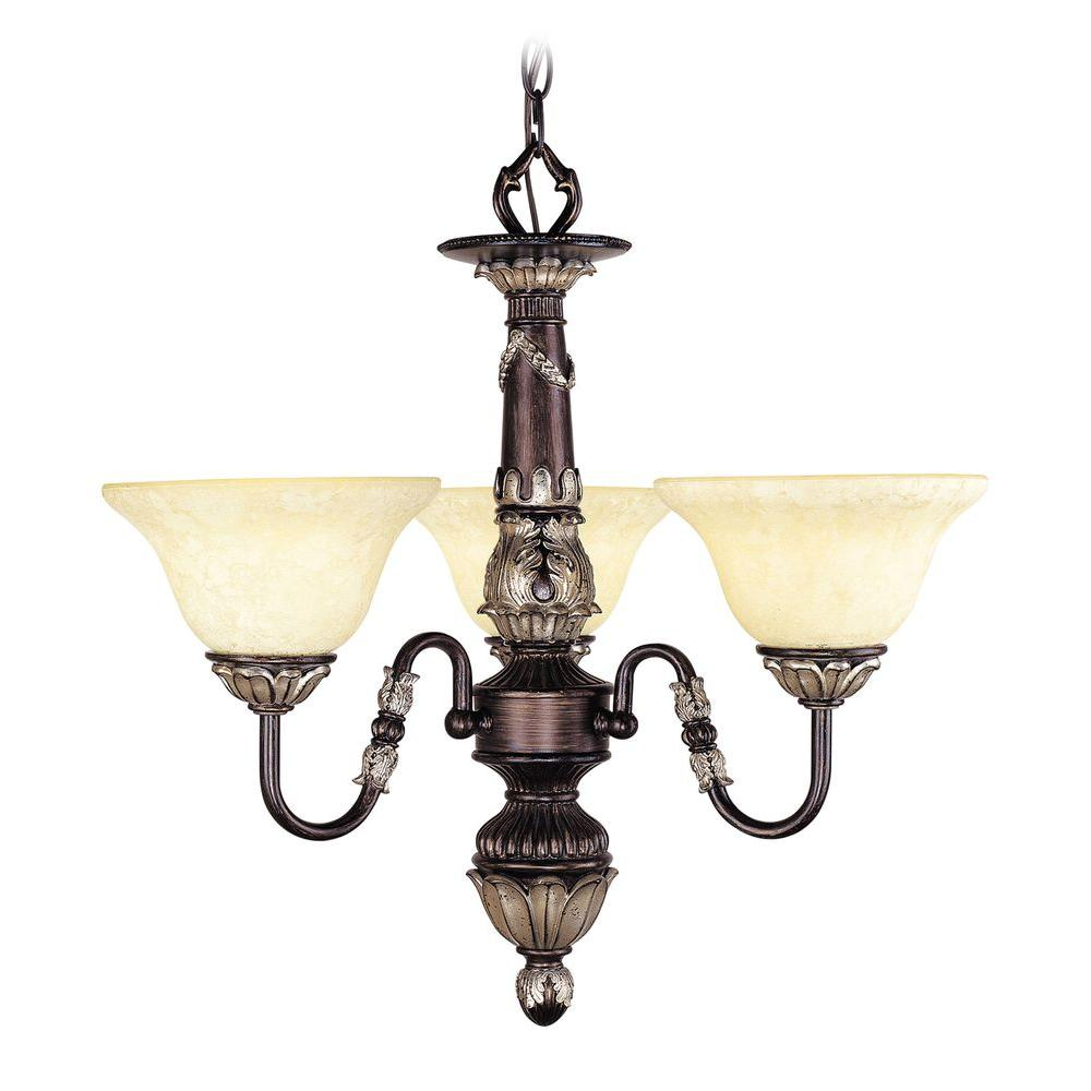 Livex Lighting Providence 3-Light Rubbed Bronze Incandescent Ceiling Chandelier with Antique Silver Accents
