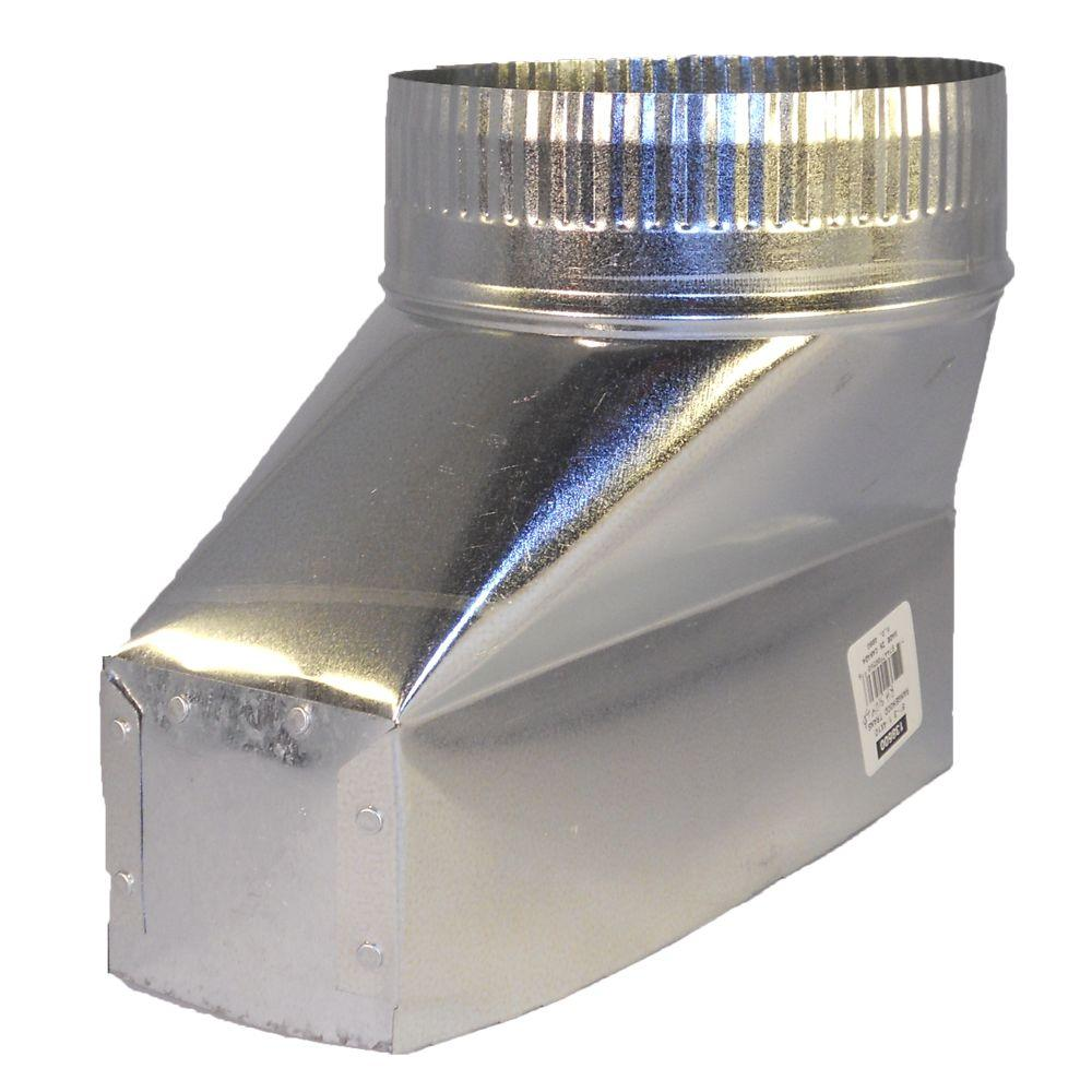 Speedi-Products 10 in. x 3.25 in. x 6 in. Galvanized Sheet Metal Range Hood Straight Boot Adapter