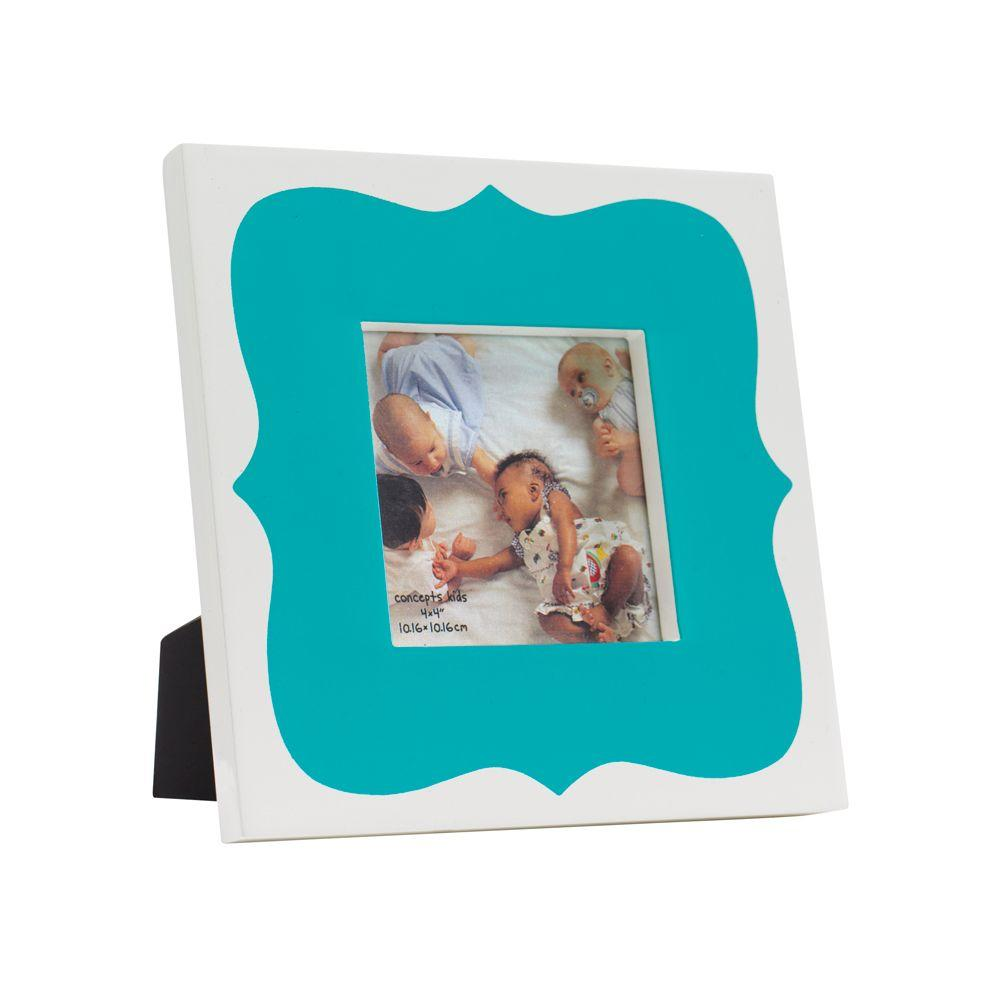 Home Decorators Collection 4 in. x 4 in. Teal Scalloped High-Gloss Picture Frame-DISCONTINUED