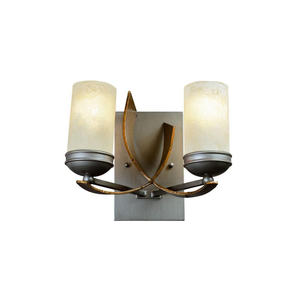 Varaluz Aizen 2-Light Hammered Ore Bath Vanity Light with Tea Stained