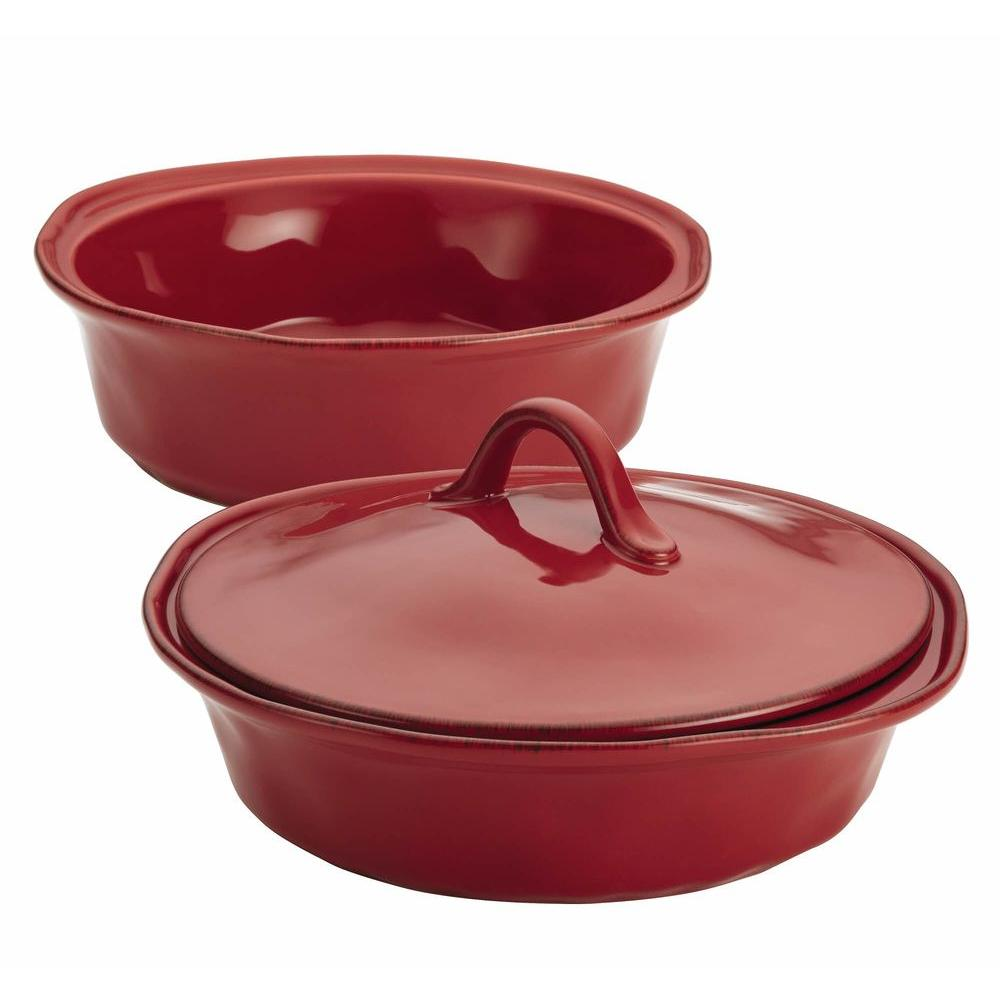 Cucina Stoneware 3-Piece Round Baker and Lid Set in Cranberry Red