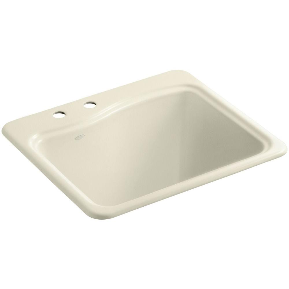 KOHLER River Falls 22 in. x 25 in. Cast Iron Utility Sink in Cane Sugar