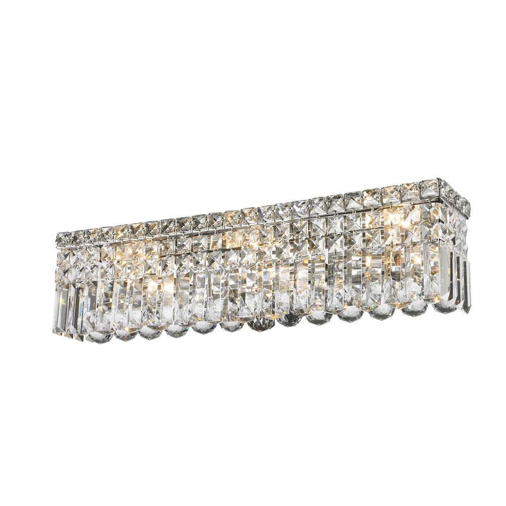Chrome Crystal Vanity Lights : Worldwide Lighting Cascade Collection 6-Light Polished Chrome Vanity Light with Clear Crystal ...
