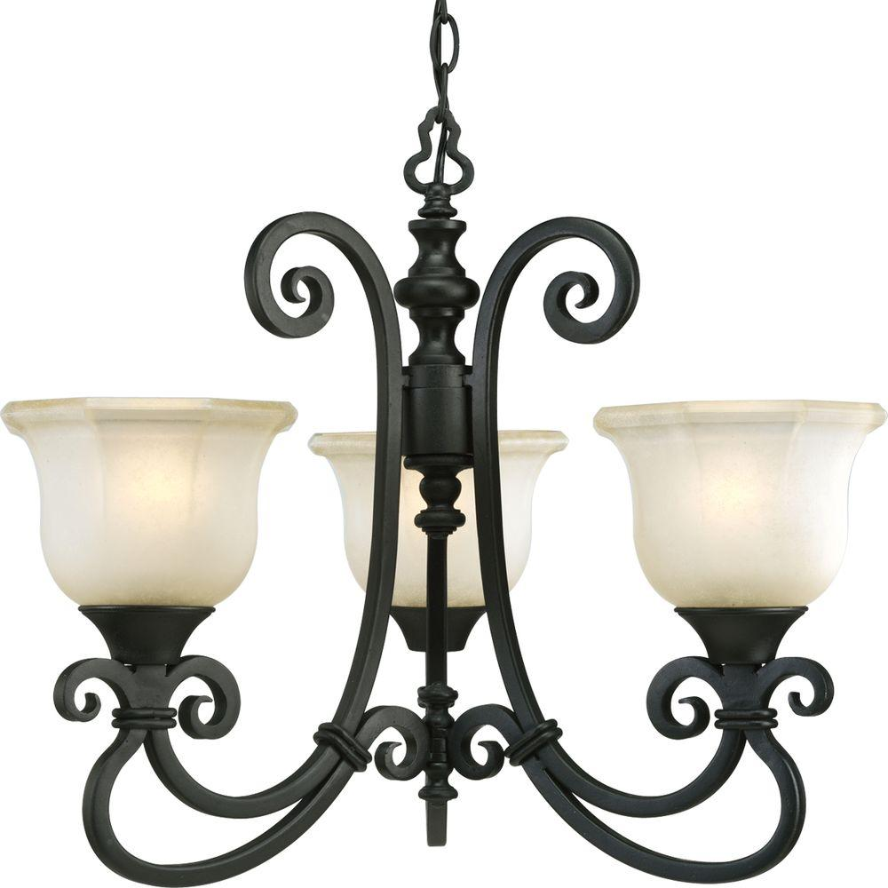 Progress Lighting Guildhall Collection Forged Black 3-light Chandelier-DISCONTINUED