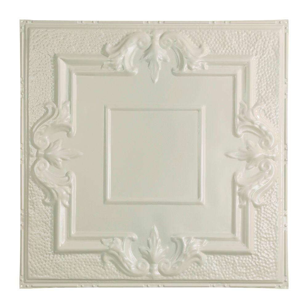 Niagara 2 ft. x 2 ft. Nail-up Tin Ceiling Tile in Antique White