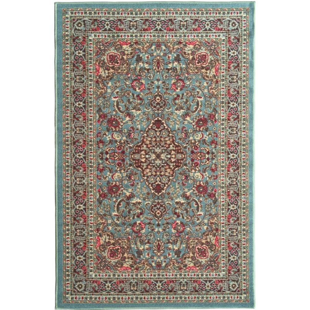 Ottohome Collection Traditional Persian All-Over Pattern Design Sage Green 5 ft. x 6 ft. 6 in. Area Rug