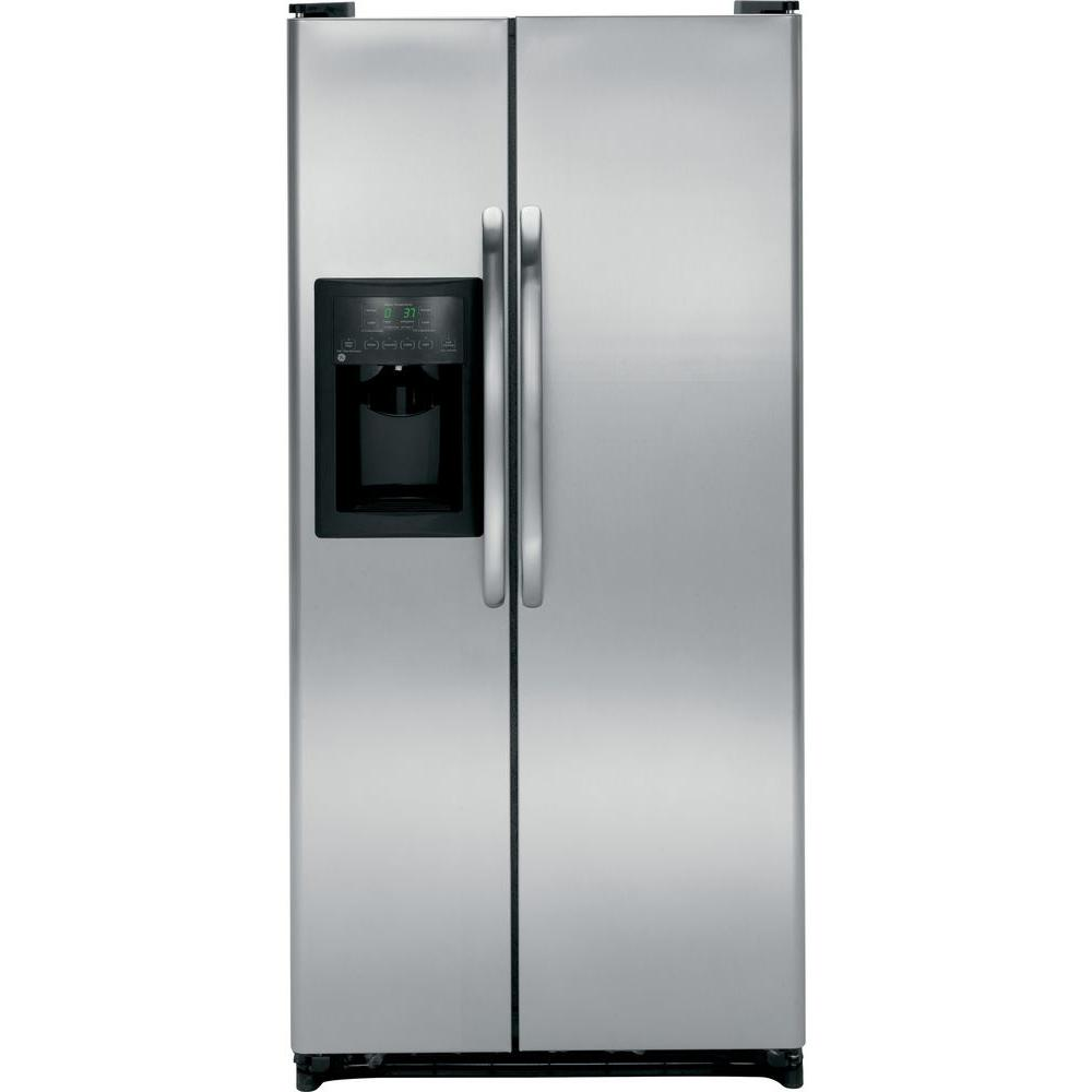 GE 32 in. W 20.0 cu. ft. Side by Side Refrigerator in Stainless Steel