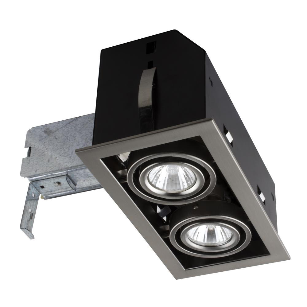 Double Cube 9 in. Brushed Steel Recessed Halogen Kit
