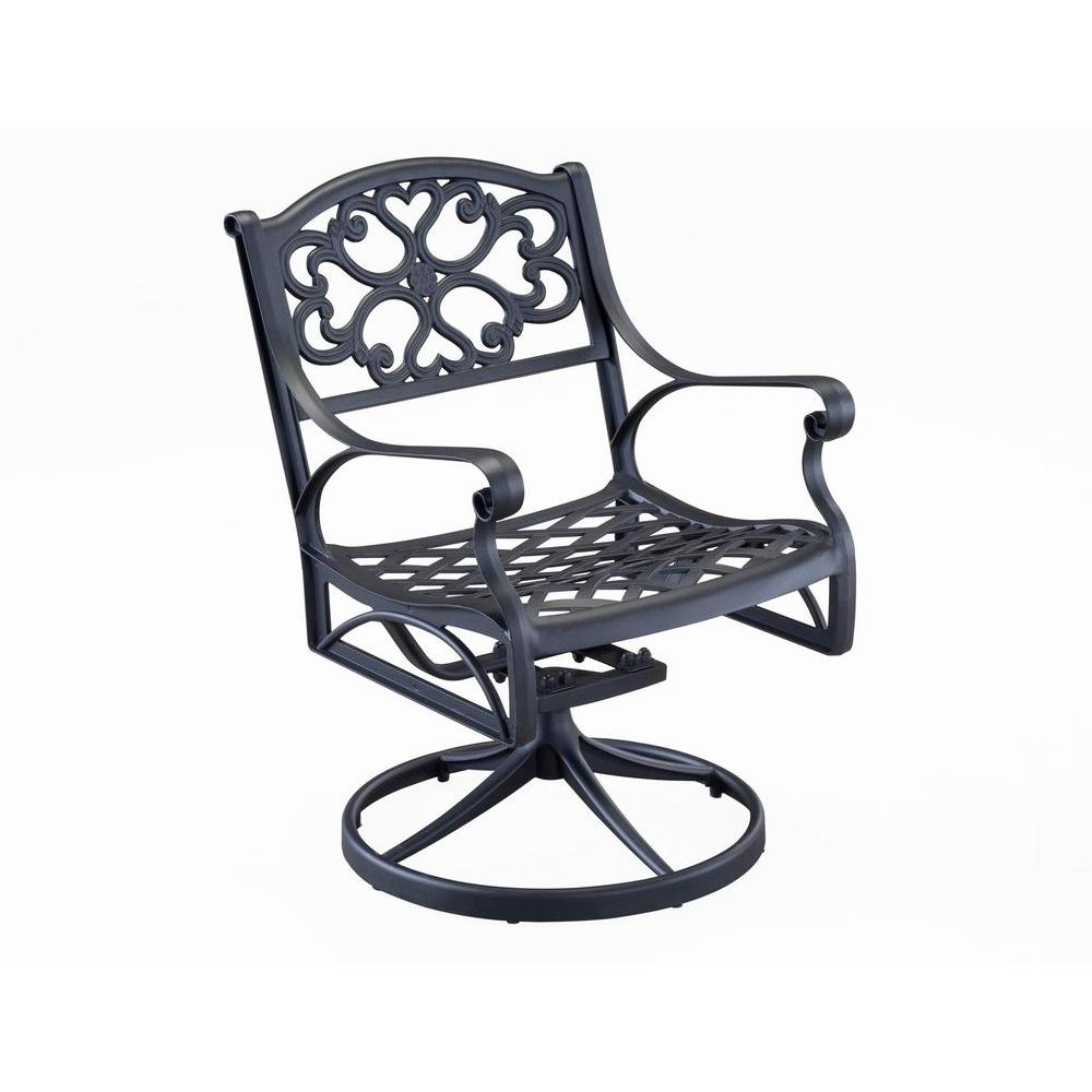 Home Styles Biscayne Black Swivel Patio Dining Chair