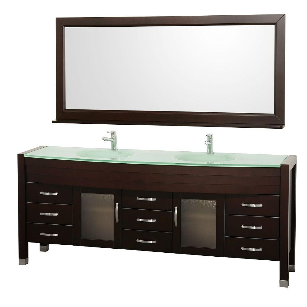 Wyndham Collection Daytona 78 in. Vanity in Espresso with Double Basin Glass Vanity Top in Aqua and Mirror