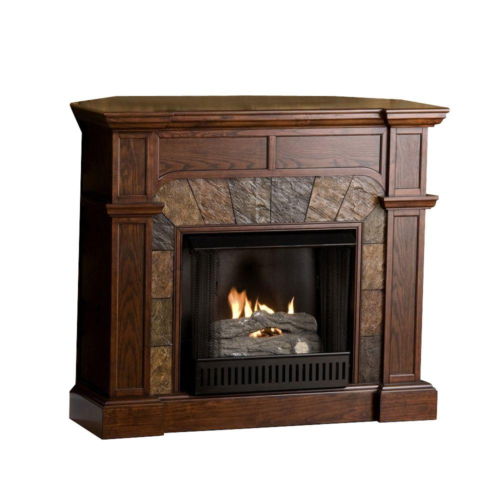 Southern Enterprises Cartwright 46 in. Convertible Gel Fuel Fireplace in Espresso with Faux Slate