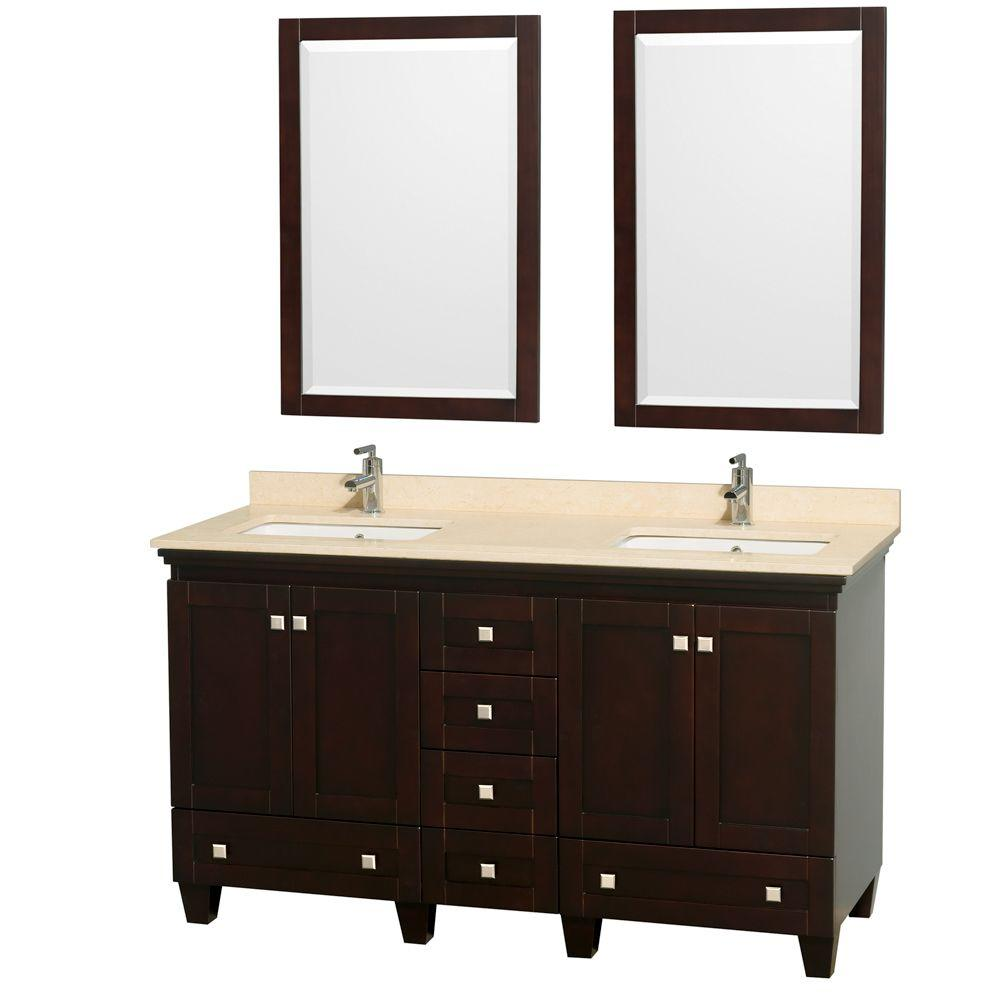 Acclaim 60 in. Double Vanity in Espresso with Marble Vanity Top