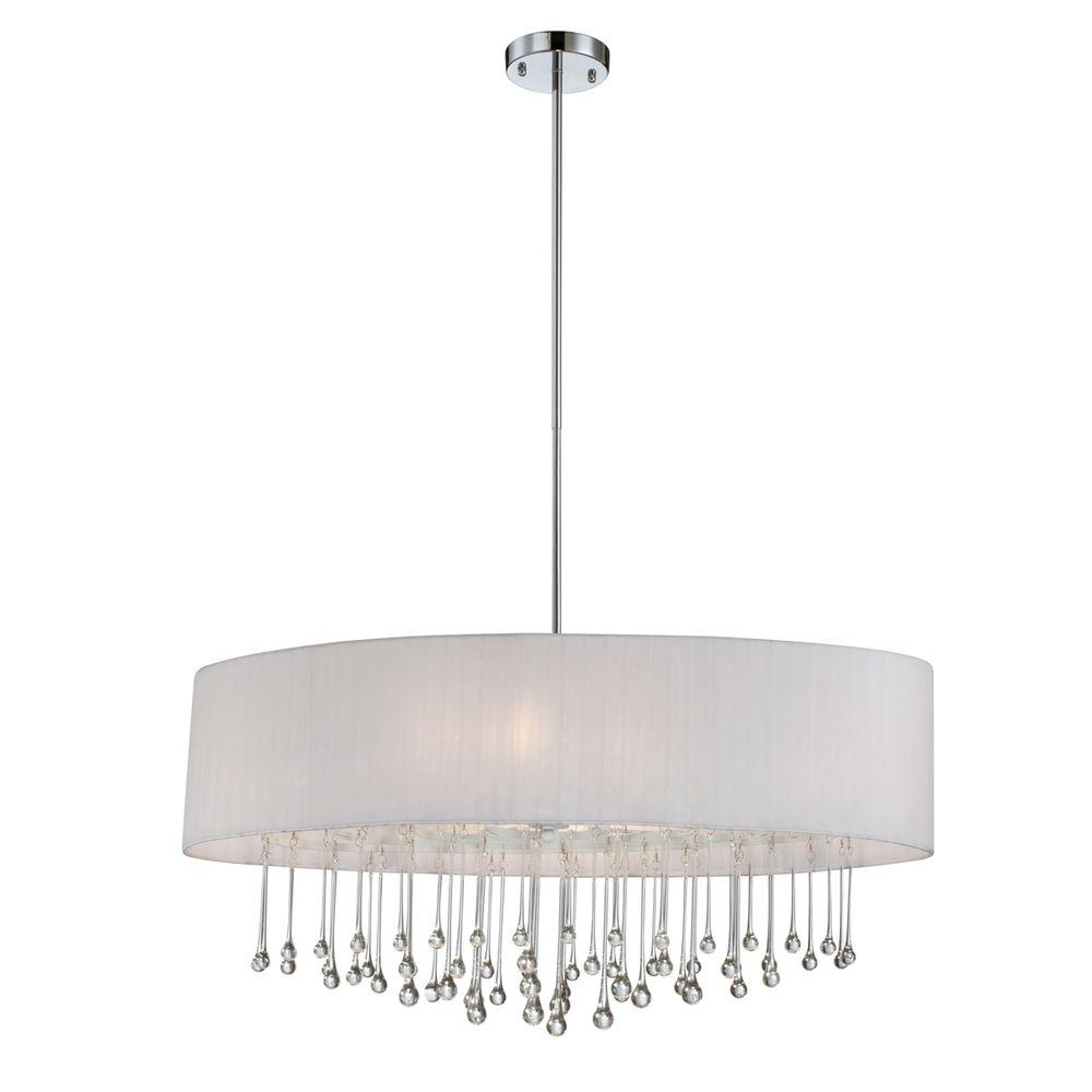 Penchant Collection 6-Light Chrome and White Oval Pendant