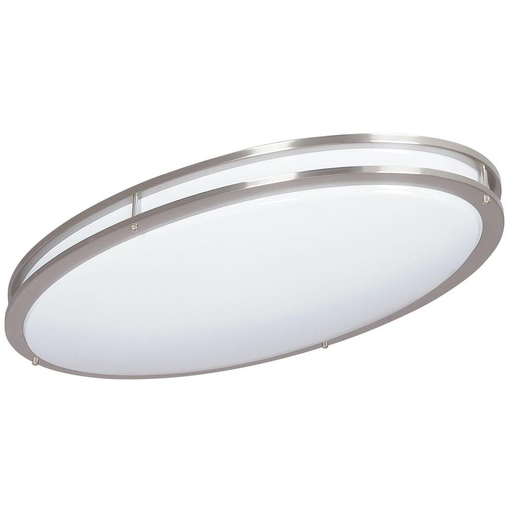 Bright Satin Nickel Indoor Fluorescent Oval Ceiling Mount