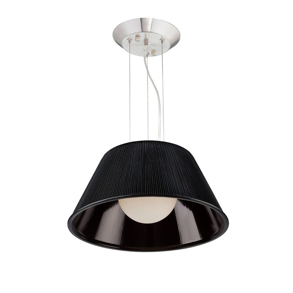 Ribo Collection 1-Light Chrome and Black Large Pendant