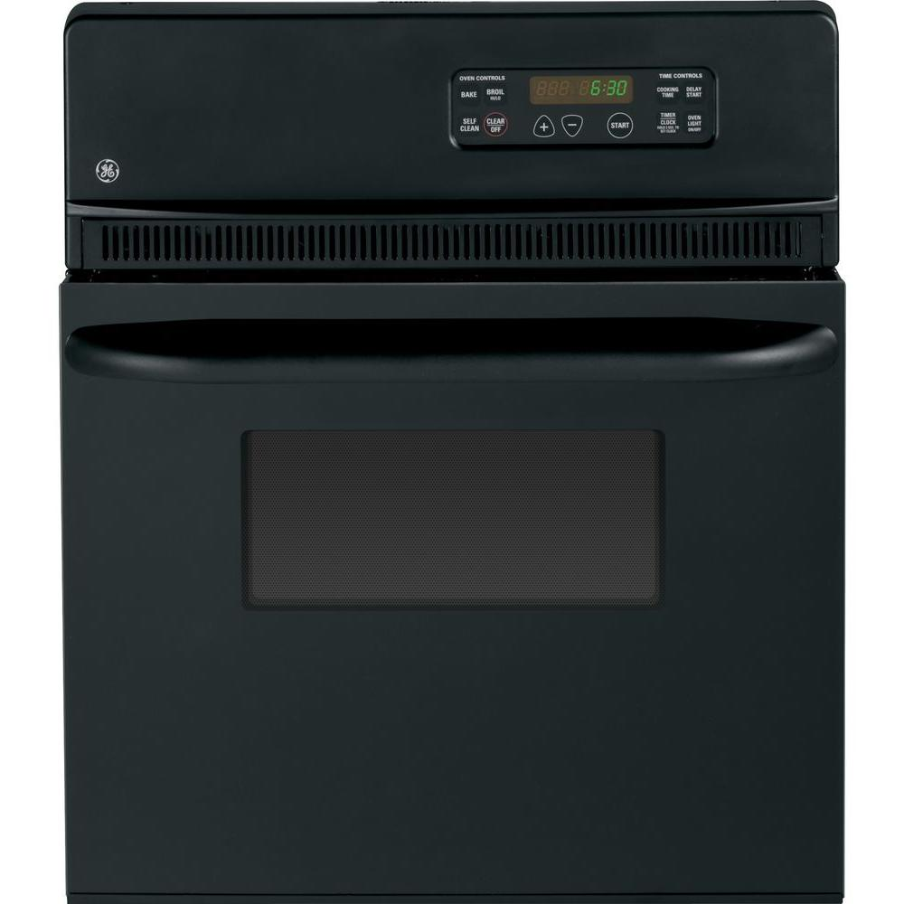 GE 24 in. Single Electric Wall Oven Self-Cleaning in Black
