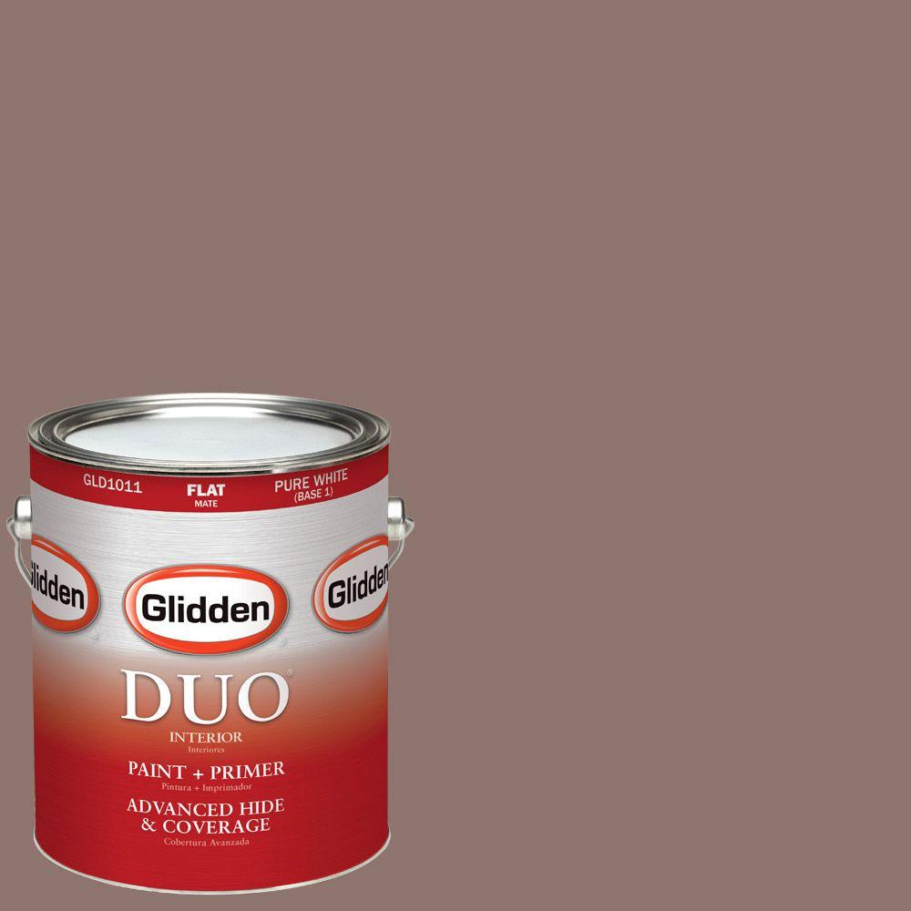 Glidden DUO 1-gal. #HDGWN12U Old Leather Book Flat Latex Interior Paint with Primer