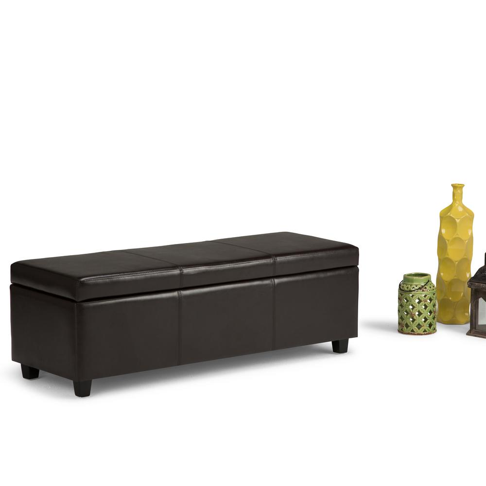 Simpli Home Avalon Large Rectangular Faux Leather Storage Ottoman in Dark