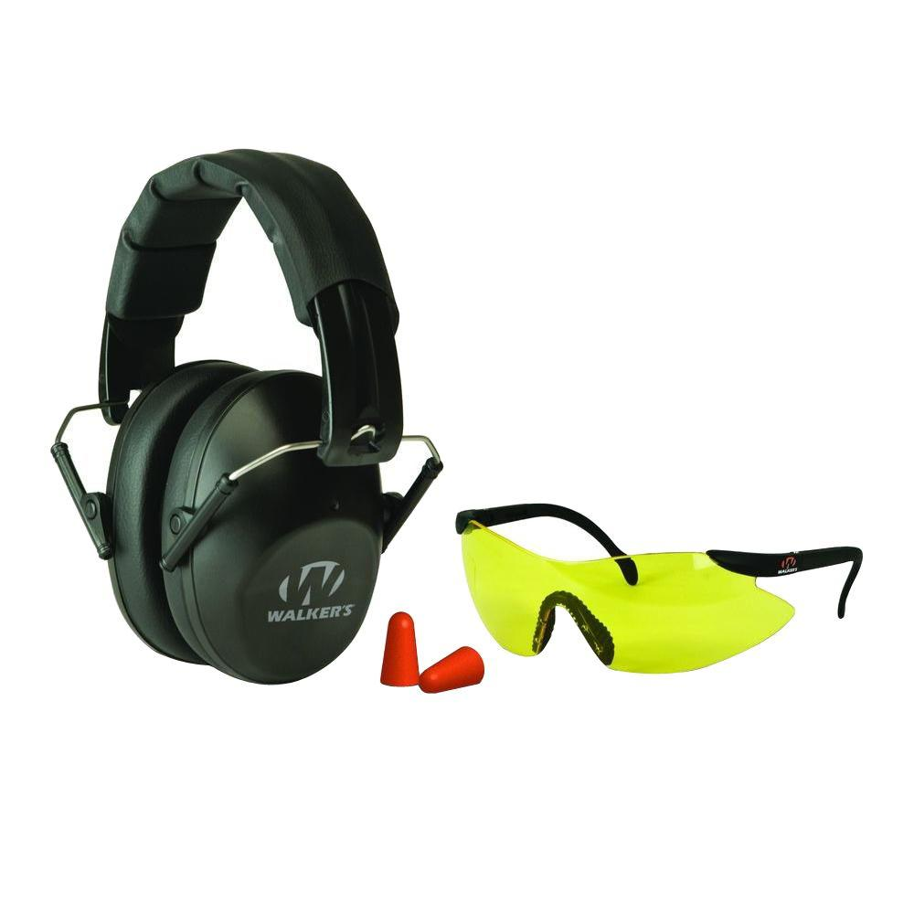 Walkers Game Ear Pro-Low Profile Folding Muff/Glasses/Plugs Combo