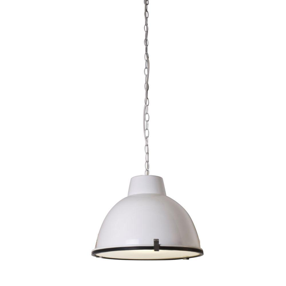 BAZZ 1 Light White Industrial Pendant With White Metal Shade P14321WH The H