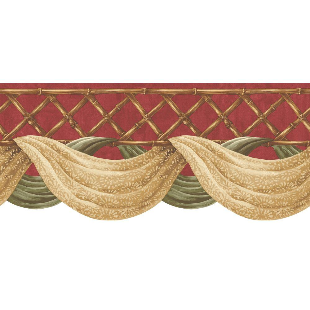 The Wallpaper Company 9 in. x 15 ft. Red Bamboo Swag Border