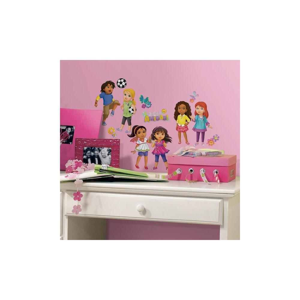 RoomMates 5 in. x 11.5 in. Dora and Friends 20-Piece Peel and Stick Wall Decal