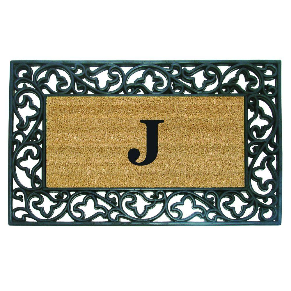Acanthus Border 22 in. x 36 in. Rubber Coir Monogrammed J
