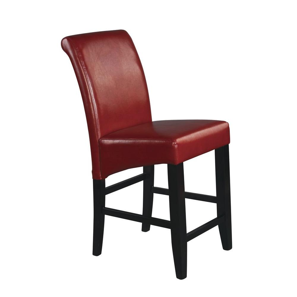 OSPdesigns Parsons 24 in. Red Cushioned Bar Stool