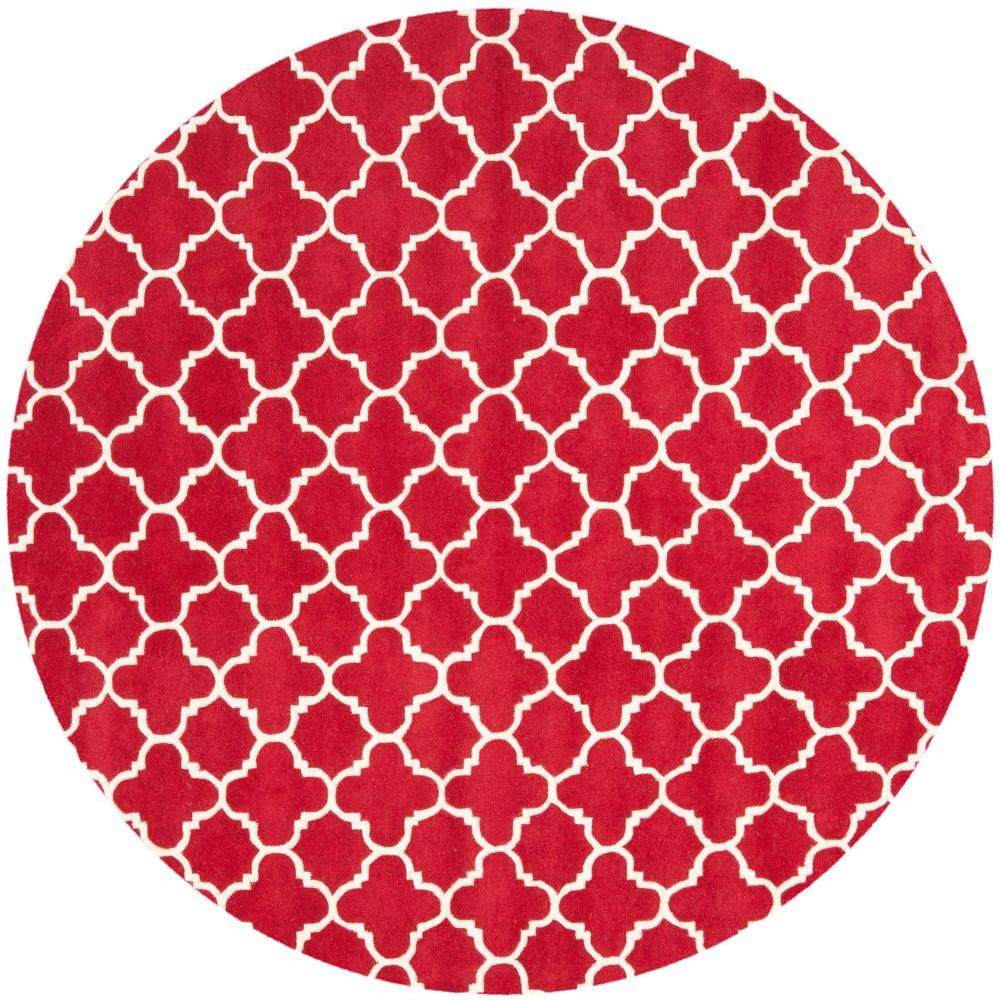 Safavieh Chatham Red/Ivory 7 ft. Round Area Rug-CHT717G-7R - The Home
