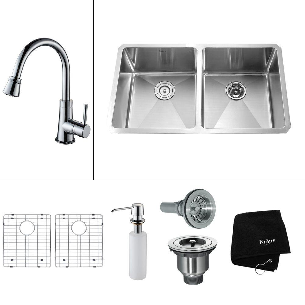 KRAUS All-in-One Undermount 32.75x19x14 0-Hole Double Bowl Kitchen Sink with Chrome Accessories