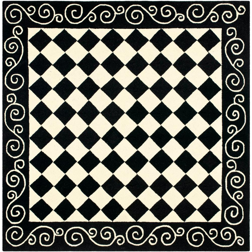 Chelsea Black/Ivory 8 ft. x 8 ft. Square Area Rug