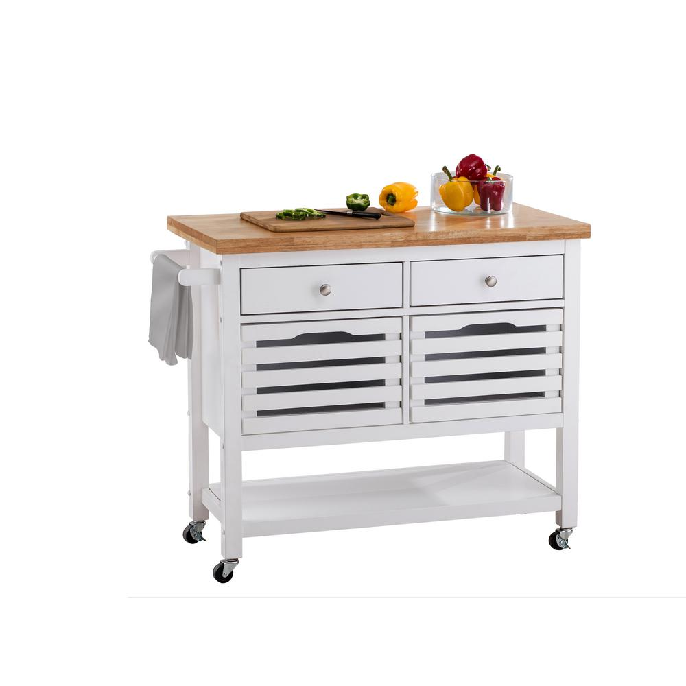 Kitchen Cart With Drawers: Sunjoy New Jaden White Body With Wood Top Kitchen Cart