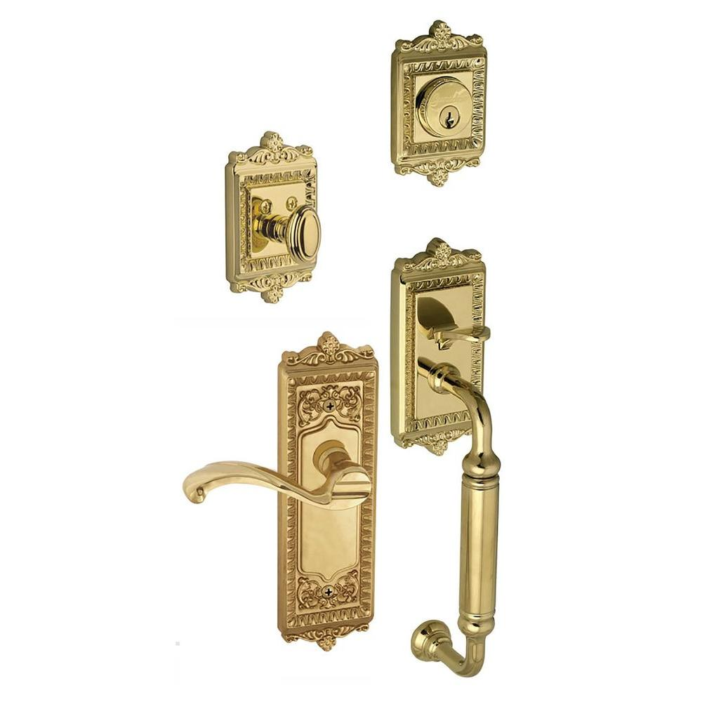 Grandeur Windsor Single Cylinder Lifetime Brass C-Grip Handleset with Right Handed Portofino Lever