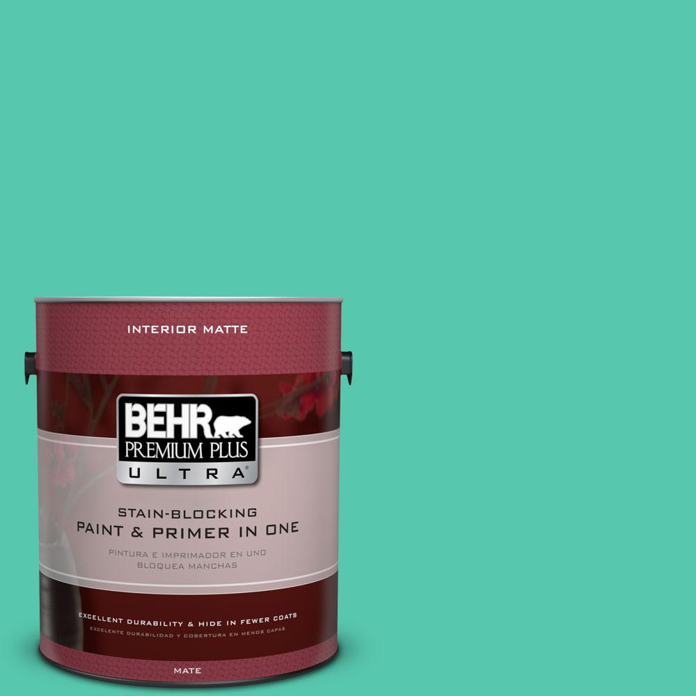 BEHR Premium Plus Ultra 1 gal. #480B-4 Shoreline Green Flat/Matte Interior Paint