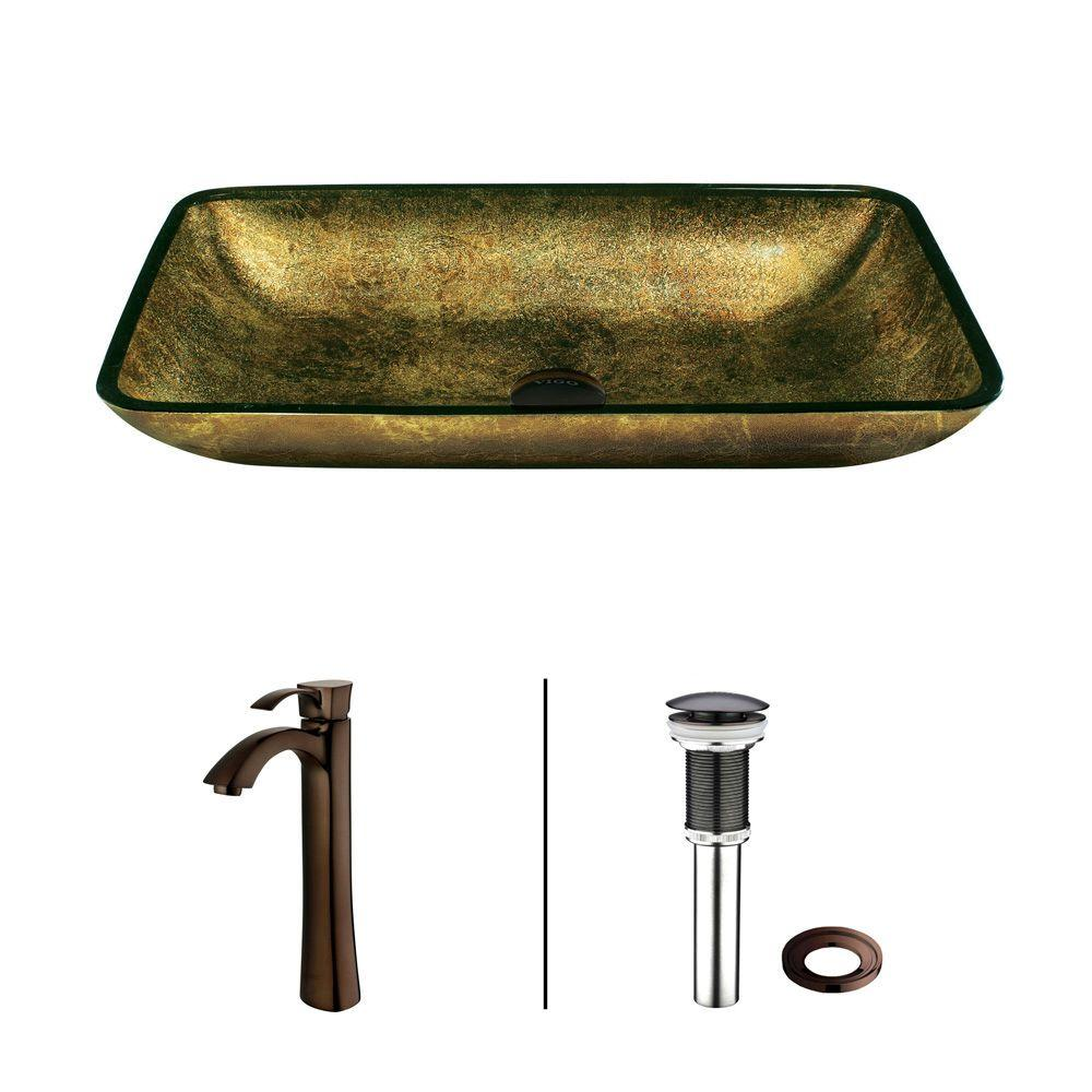 Copper Vessel Sink in Copper and Faucet in Bronze