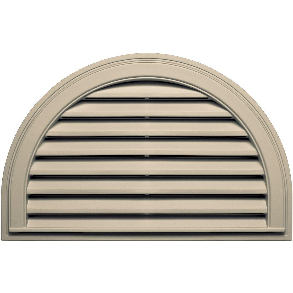 22 in. x 34 in. Half Round Gable Vent in Almond