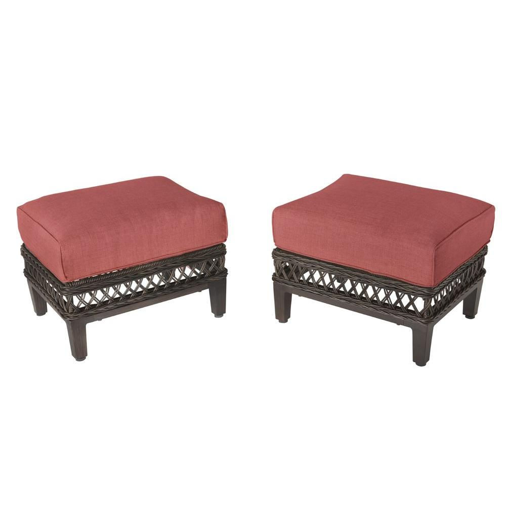 Woodbury Patio Ottoman with Dragonfruit Cushion (2-Pack)