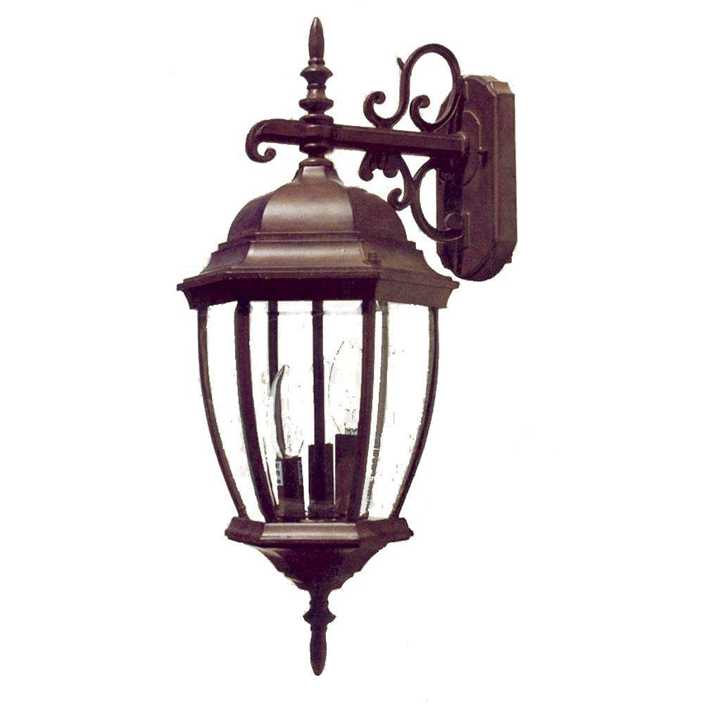 Acclaim Lighting Wexford Collection 3-Light Burled Walnut Outdoor Wall-Mount