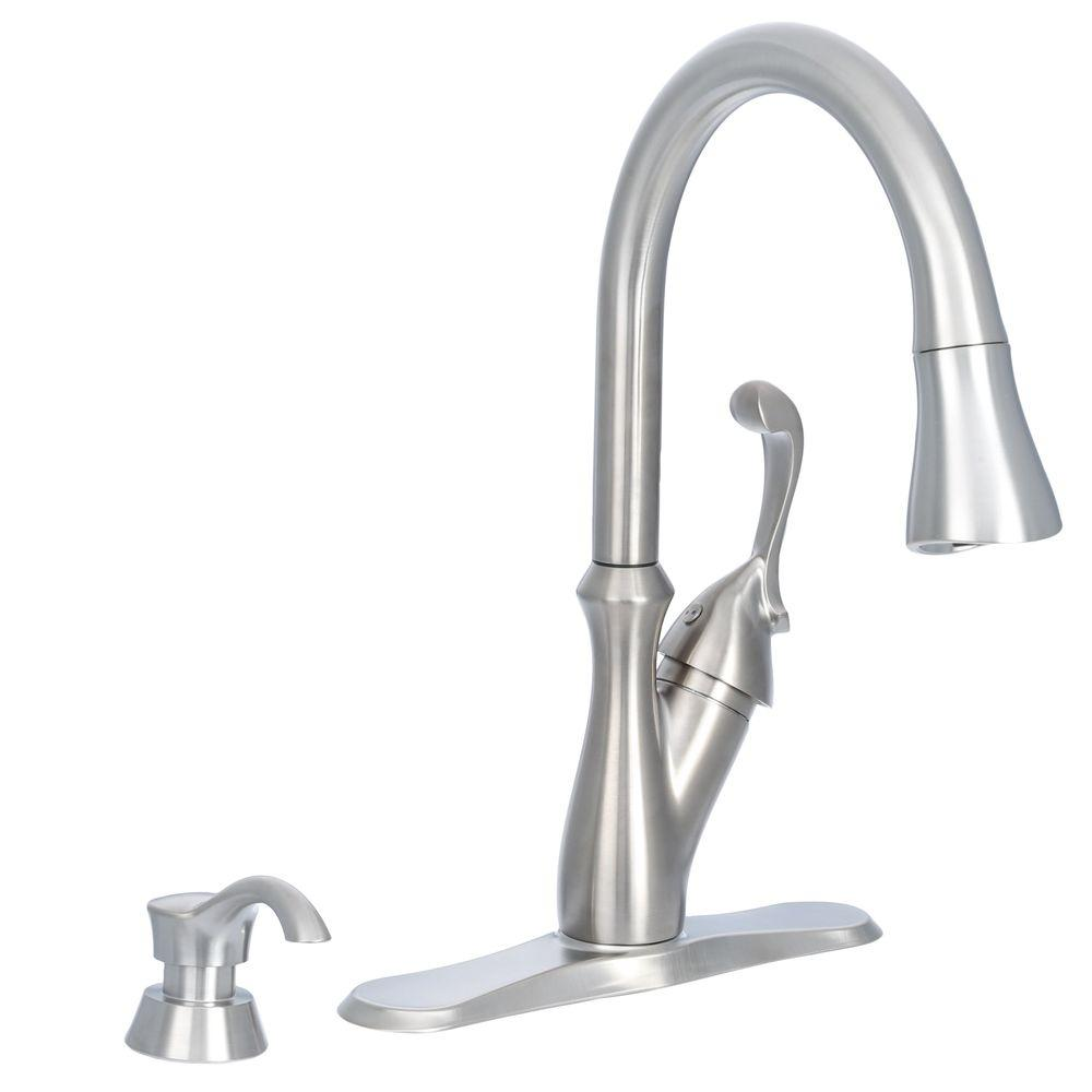 Delta Arabella Single-Handle Pull-Down Sprayer Kitchen Faucet with Soap Dispenser in Stainless