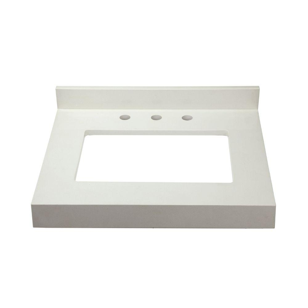 DECOLAV Cameron 26 in. W x 22 in. D x .75 in. H Quartz Vanity Counter Top with 8 in. Faucet Holes in White