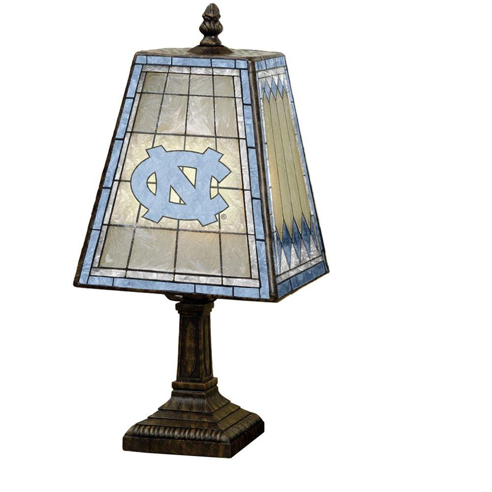 The Memory Company NCAA 14 in. North Carolina Tar Heels Art Glass Table Lamp-DISCONTINUED