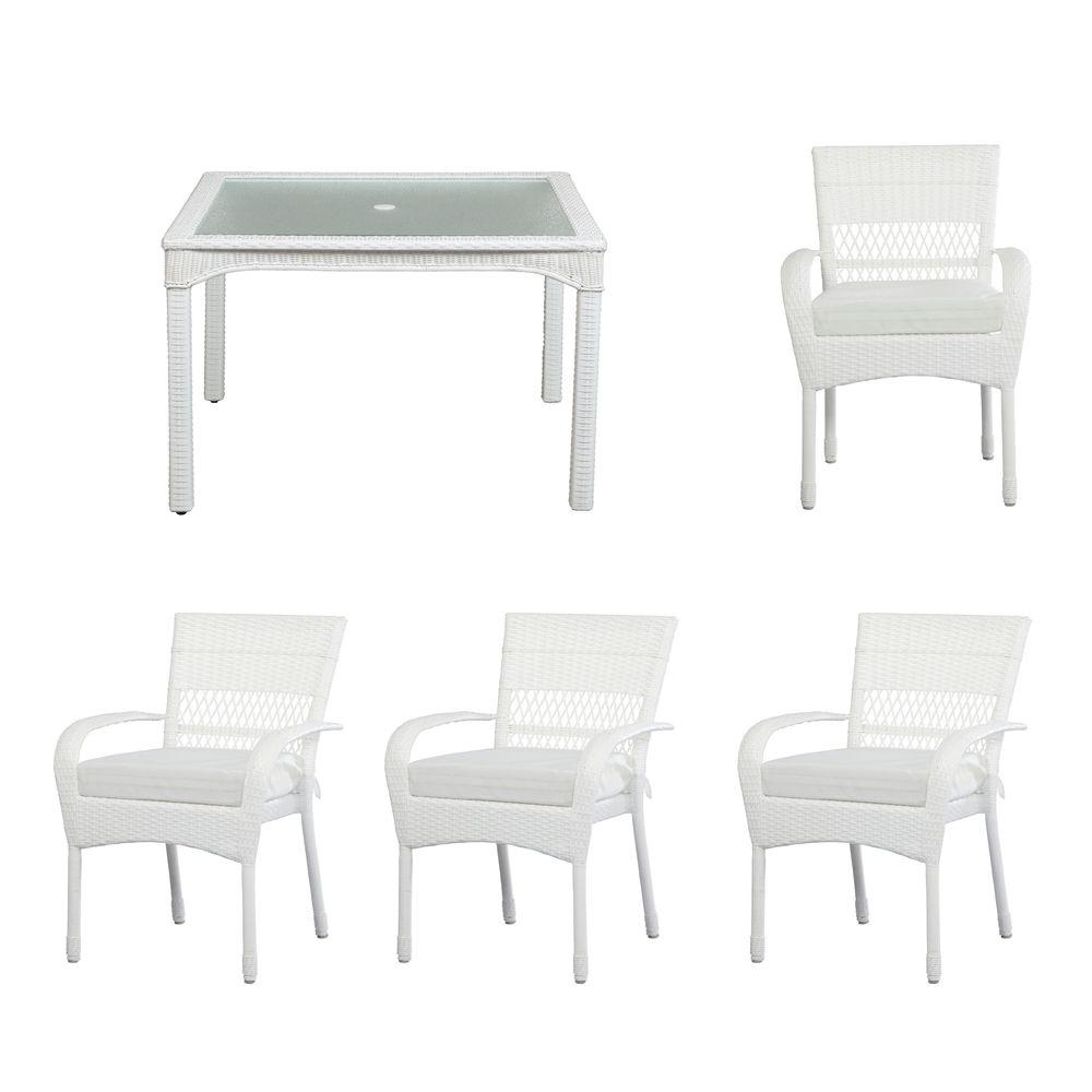 Martha Stewart Living Charlottetown White All-Weather Wicker 5-Piece Patio Dining Set with Cushion Insert (Slipcovers Sold Separately)