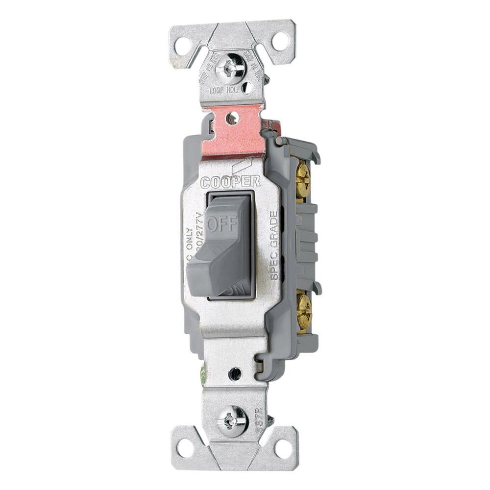 Eaton 20 Amp Double Pole Premium Toggle Switch, Gray-CS220GY - The